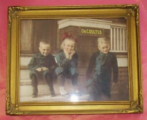 Antique Ornate Gold Leaf Picture Frame Photo Children At Dr Coulter S