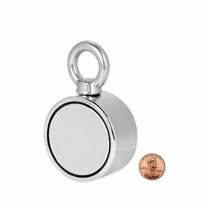 Double Sided Round Neodymium Fishing Magnet With Eyebolt Vertical Tension 55