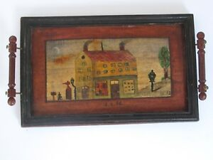 Antique American Painted Tray House Exterior Signed E H Dated 1896