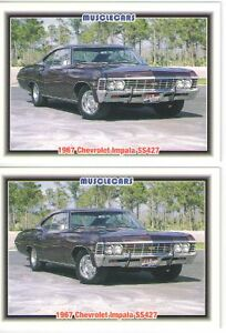 1967 Chevy Impala Ss427 Baseball Card Sized Cards Must See Lot Of 2