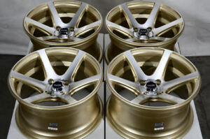 15x8 4x100 Gold Wheels Fits Toyota Corolla Prius C Mr2 Yaris Civic 4 Lug Rims