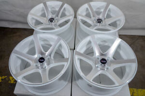 15 4x100 White Wheels Fits Mazda2 Mini Cooper Civic Yaris Versa Miata 4 Lug Rims
