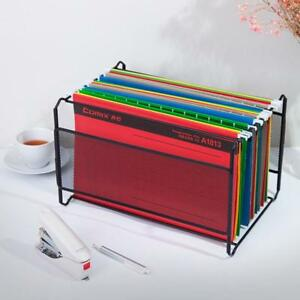 1pc Durable Metal School Supply Rack Hanging File Frame Size A4 Black Office