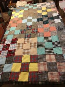 Vintage Patchwork Quilt Wool Other Suiting Fabrics For Use Crafts Cutter 82 X 70