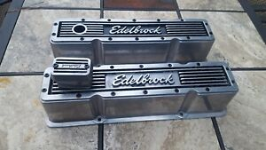 Pair Of 2 Edelbrock Valve Covers Tall Elite 1959 86 Small Block Chevy
