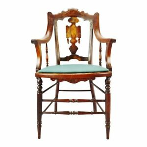 Antique Victorian Eastlake Carved Wood Arm Chair