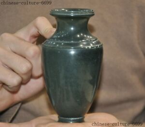 Chinese Dynasty Old Green Jade Stone Carving Zun Cup Bottle Pot Vase Jar Statue