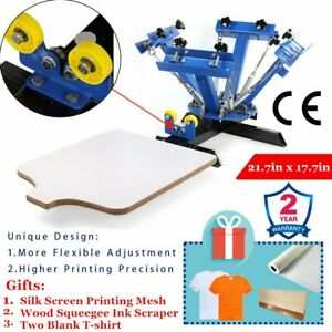 Us 4 Color Manual Screen Printing Press Silk Screening Pressing Diy 1 Station