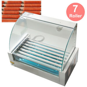 Commercial 18 Hot Dog 7 Roller Grill Cooker Machine W Cover Hotdog Maker Warmer