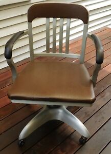 Vintage Mid Century Good Form Brushed Aluminum Swivel Desk Office Armchair
