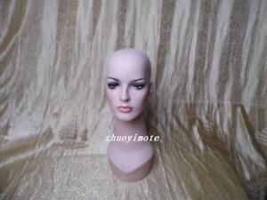 Fashion Design Fiberglass Female Mannequin Head For Wig Jewelry Display