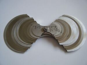 Davis large Radius Gage Set 24 Sizes 9 16 2 By 1 16 Increments