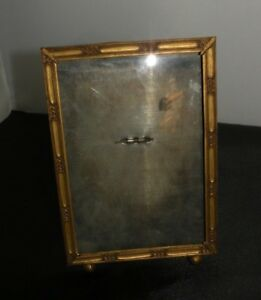 Antique Vintage Gold Metal Picture Frame Convex Glass Easel Back Stand 5 X 7