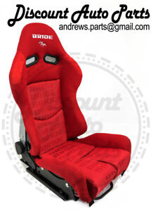 Pair Bride Gias Red Gradation V1 Frp Backing Low Max Jdm Seat W sliders Drift