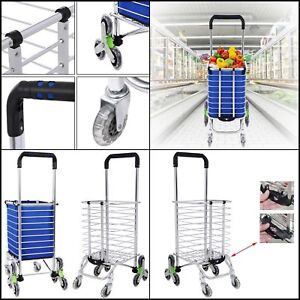 Heavy Duty Rolling Folding Shopping Reusable Utility Cart W Bag G1 Stair Swivel