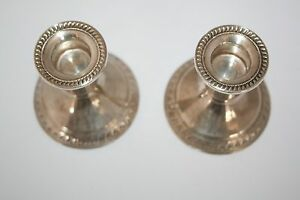 Vintage Duchin Creation Sterling Weighted Candle Holders Pair