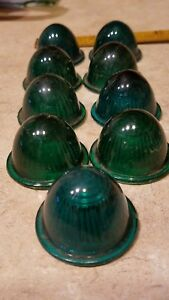 9 Nine Nos 1930s Seiss Green Glass Antique Bicycle Marker Tail Light Lenses