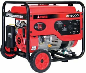 A ipower 5000 watt Portable Gas Powered Generator With Wheel Kit Home Rv Camping
