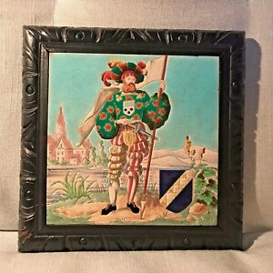 Antique Longwy Trivet Tile French Court Costume Crest Shield Framed 8 X 8