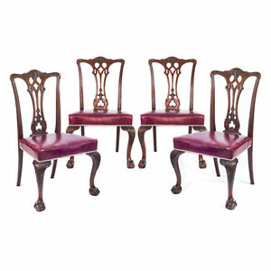 Set Of Four Antique English 19th Century Gothic Chippendale Dining Chairs C1890