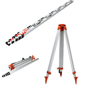 1 65m Aluminum Tripod 5m Section Staff Set For Rotary Laser Level Surveying