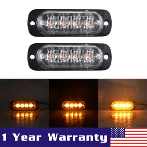 2x Amber 4 Led Car Truck Emergency Beacon Warning Hazard Flash Strobe Light Bar