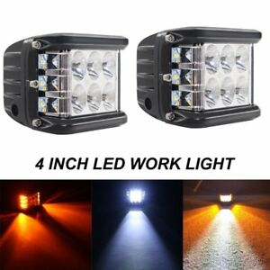 2x 4 Inch 90 W Side Shooter Pods Combo Led Work Light Strobe Lamp White