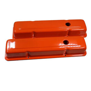 For Small Block Chevy 58 86 Steel Orange Short Valve Cover 283 327 350 400 Sbc