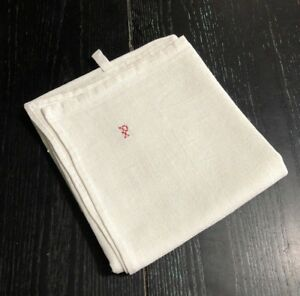 Vintage French Linen Tea Towel P Monogram