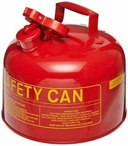 Red Galvanized Metal Type Gasoline Safety Can 2 5 Gallon Gas Cans Jugs Fuel New