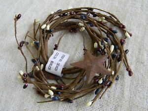 Rusty Stars Patriotic Pip Berry 2 5 Candle Wreath Primitive Country Home Decor