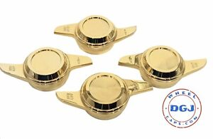 2 Bar Cut Gold Knock Offs Spinners For Lowrider Wire Wheels