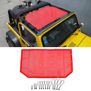 Sun Shade Mesh Bikini Top Half Cover For 1997 2006 Jeep Wrangler Tj 2 door Red