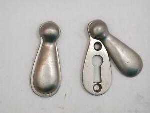 4 Matching Vintage Swinging Cover Key Escutcheons Nickel Over Brass Never Used