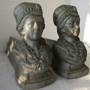 2x Antique Large Cast Iron Bust Fireplace Andirons Fire Dogs Set