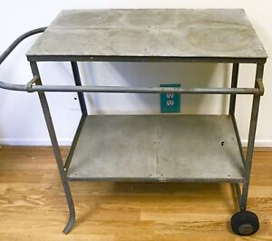 Vintage Metal Cart 2 Shelf W Handle Cart On Wheels Very Heavy Industrial Rare