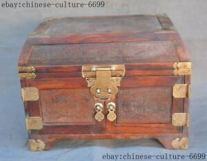 Chinese Redwood Wood Carving Beauty Belle Flower Beast Locker Drawer Jewelry Box