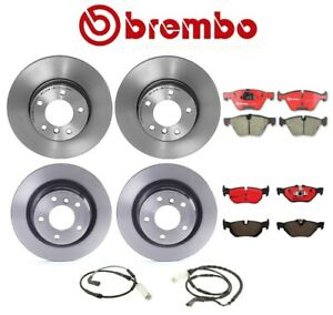 For Bmw E90 325i Front And Rear Disc Brake Rotors Pads With Sensors Brembo Kit