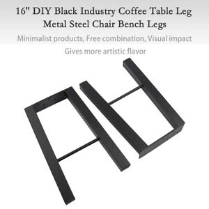 2pcs Black 16 Industry Coffee Table Legs Metal Steel Bench Legs Diy Furniture