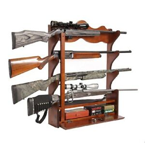 4 Gun Wall Rack Wood Cabinet Display Gun Rifle Ammo Storage Locking Box Safe