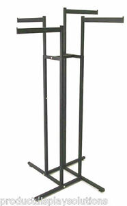 4 Way Clothing Garment Display Rack With 4 Straight Blade Arms Black