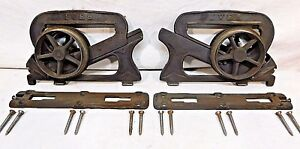 1880s Set Ives Pocket Door Rollers Door Plates Victorian Style Original Ornate