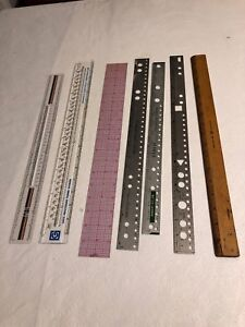 Vintage Rulers For Business And Data Processing Lot Of 7 Metal Plastic Wood