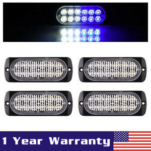 4x White Blue Car 12 Led Emergency Strobe Light Bar Marker Flash Warning Lamp