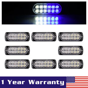 8x White blue Car 12 Led Emergency Strobe Light Bar Marker Flash Warning Lamp
