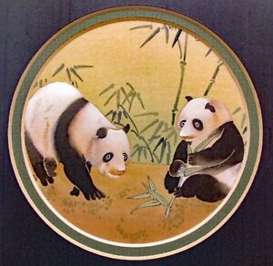 Chinese Hand Painted Watercolor On Silk Two Pandas In Bamboo Pre Owned