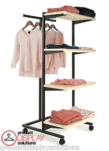 Combination Rolling Clothing Garment Display Rack W T Stand Four Shelves