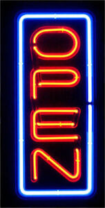 Neon Vertical Open Sign Real Glass Tube Blue Red