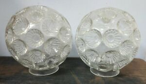 Vintage Mid Century Modern Rare Pressed Glass Matching Ceiling Lamp Shade Set