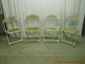 Nice Set Of 4 Vintage Mid Century Mesh Hoop Back Folding Metal Chairs